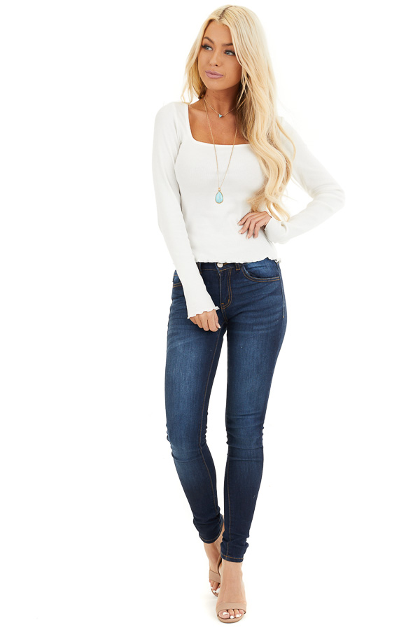 Soft White Ribbed Long Sleeve Top with Square Neckline front full body