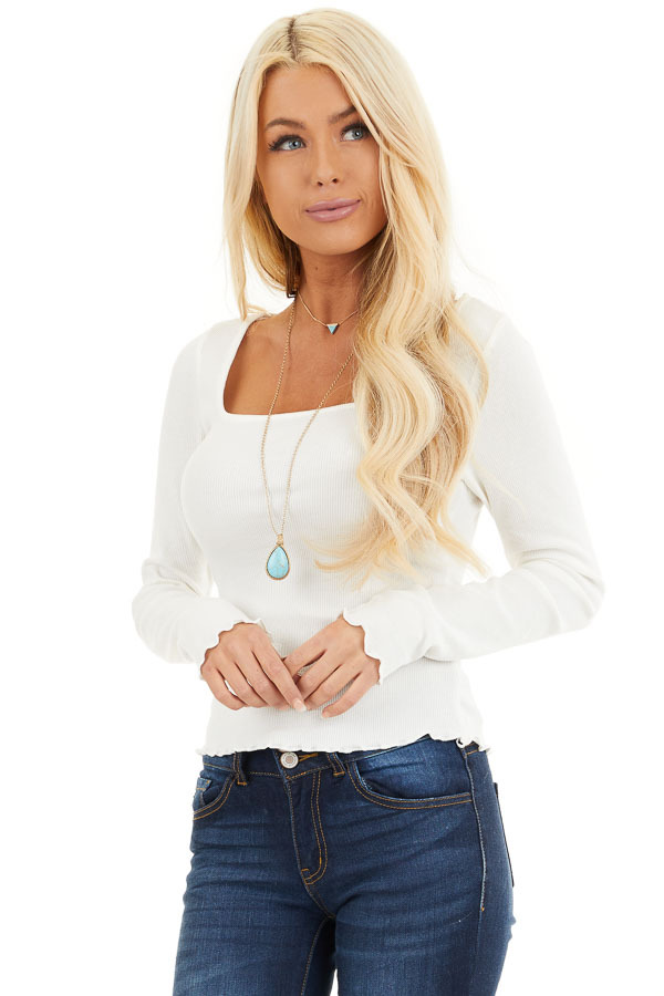 Soft White Ribbed Long Sleeve Top with Square Neckline front close up