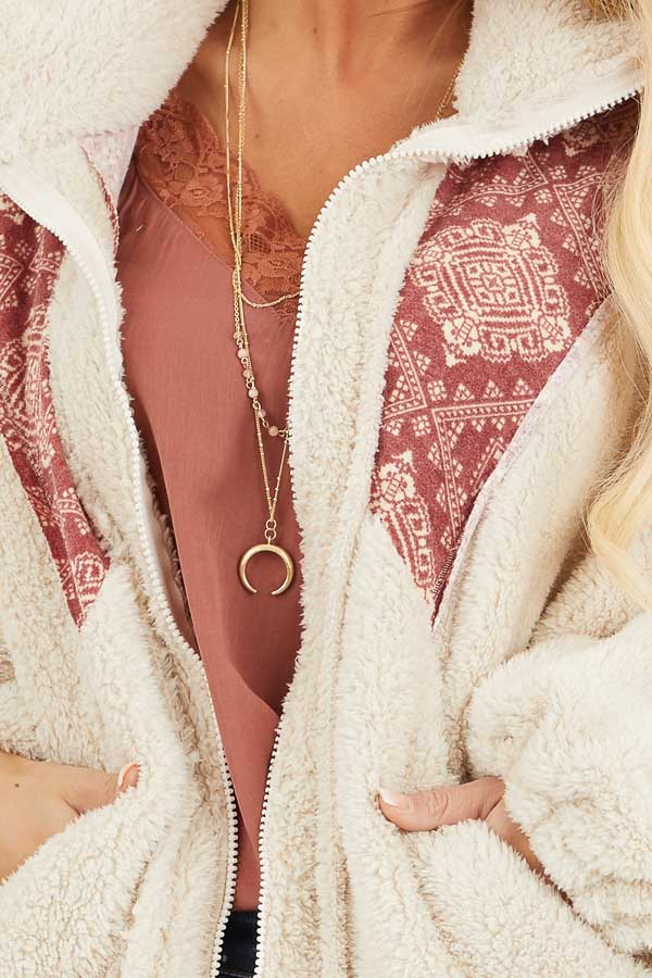 Ivory and Burgundy Abstract Print Sherpa Pullover detail