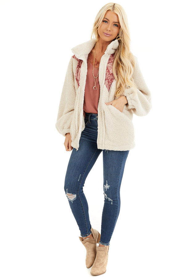 Ivory and Burgundy Abstract Print Sherpa Pullover front full body