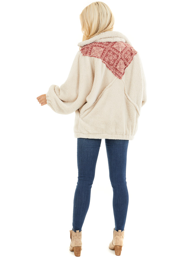 Ivory and Burgundy Abstract Print Sherpa Pullover back full body