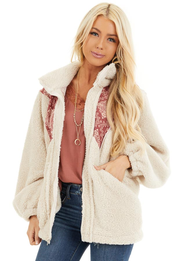 Ivory and Burgundy Abstract Print Sherpa Pullover Jacket front close up