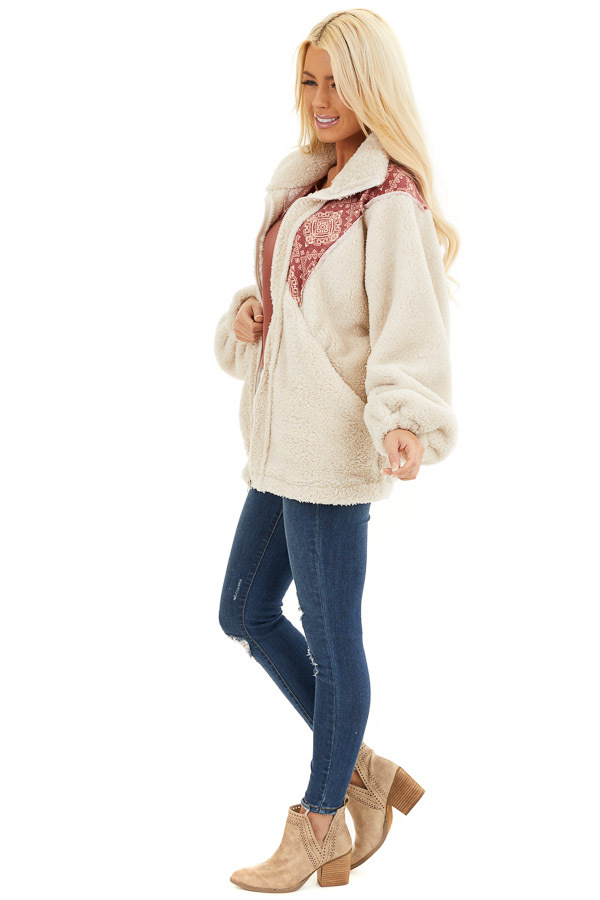 Ivory and Burgundy Abstract Print Sherpa Pullover side full body