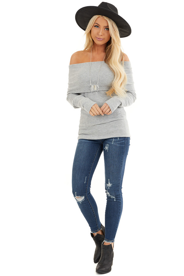 Silver Soft Brushed Top with Folded Off Shoulder Detail front full body