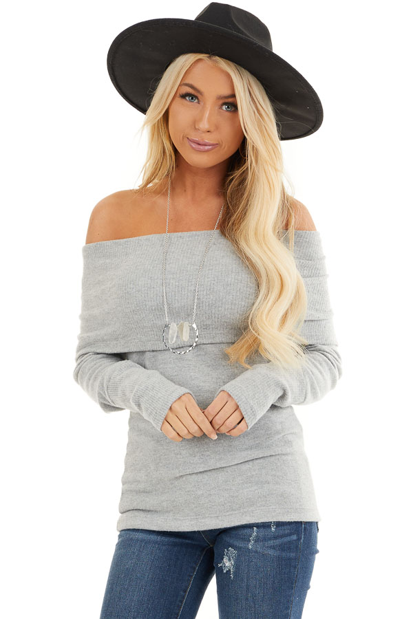 Silver Soft Brushed Top with Folded Off Shoulder Detail front close up