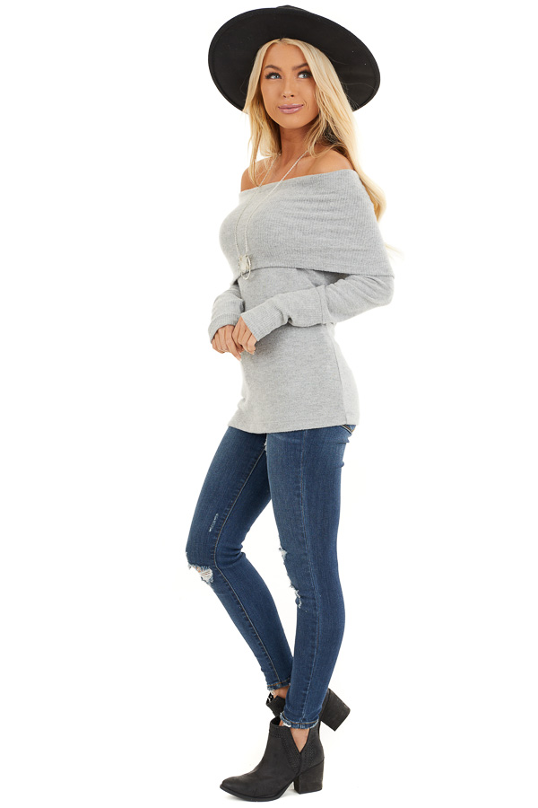 Silver Soft Brushed Top with Folded Off Shoulder Detail side full body