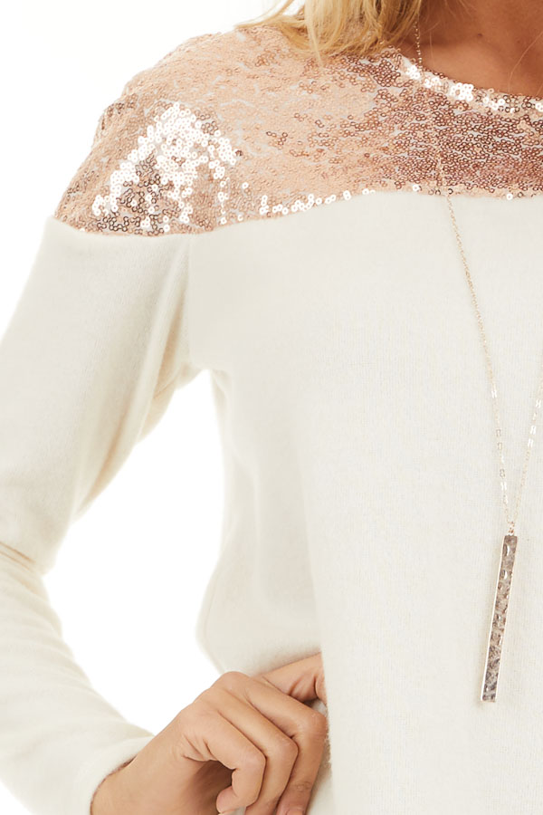 Cream Long Sleeve Knit Top with Rose Gold Sequin Detail detail