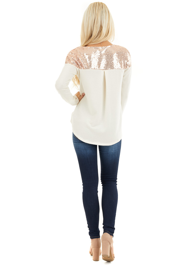 Cream Long Sleeve Knit Top with Rose Gold Sequin Detail back full body