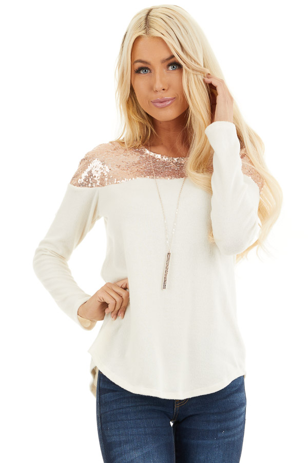 Cream Long Sleeve Knit Top with Rose Gold Sequin Detail front close up