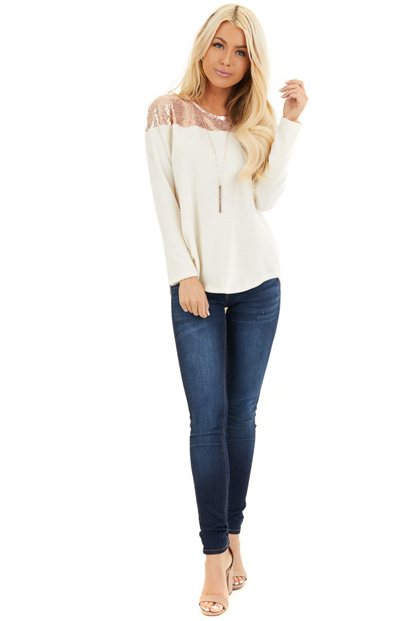 Cream Long Sleeve Knit Top with Rose Gold Sequin Detail front full body
