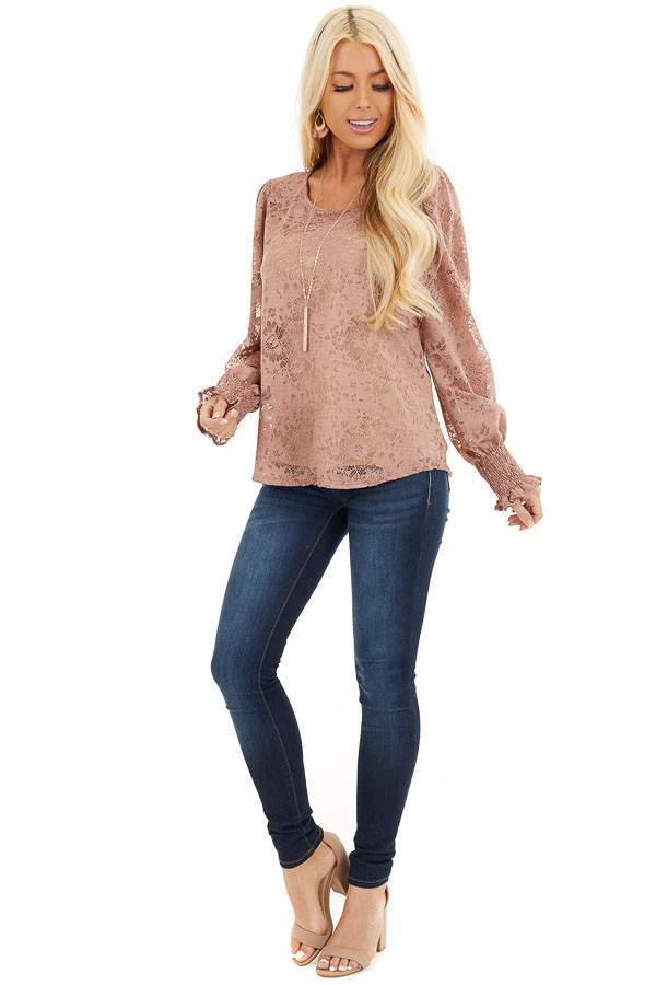 Dusty Rose Sheer Lace Top with Smocked Long Sleeves front full body