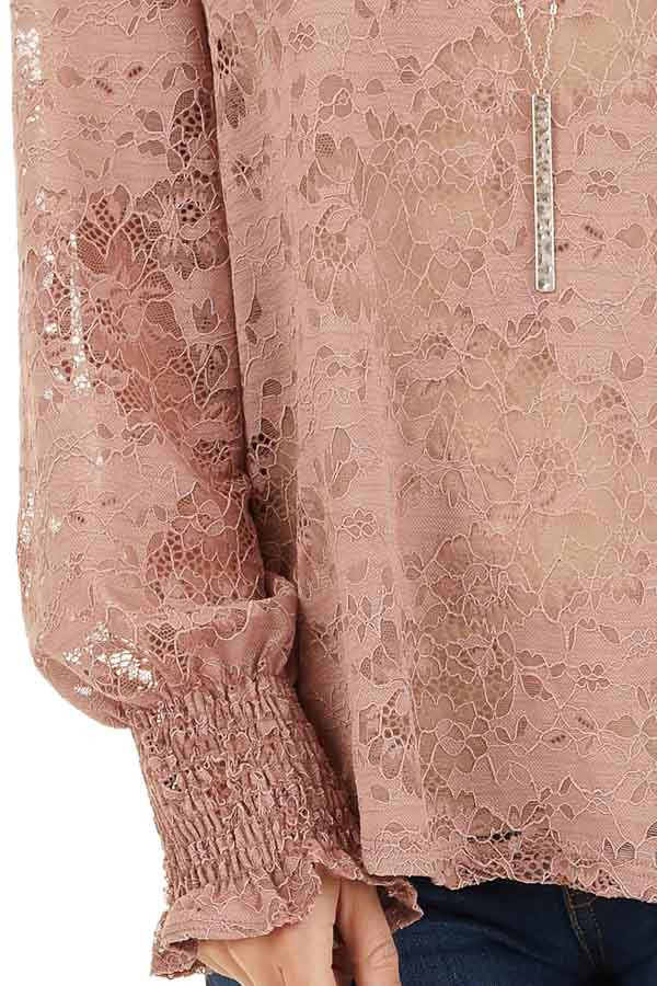 Dusty Rose Sheer Lace Top with Smocked Long Sleeves detail