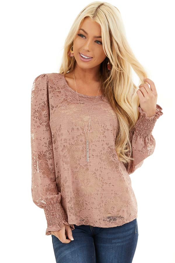 Dusty Rose Sheer Lace Top with Smocked Long Sleeves front close up
