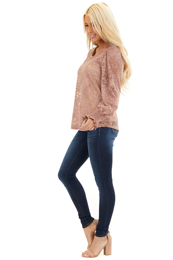 Dusty Rose Sheer Lace Top with Smocked Long Sleeves side full body