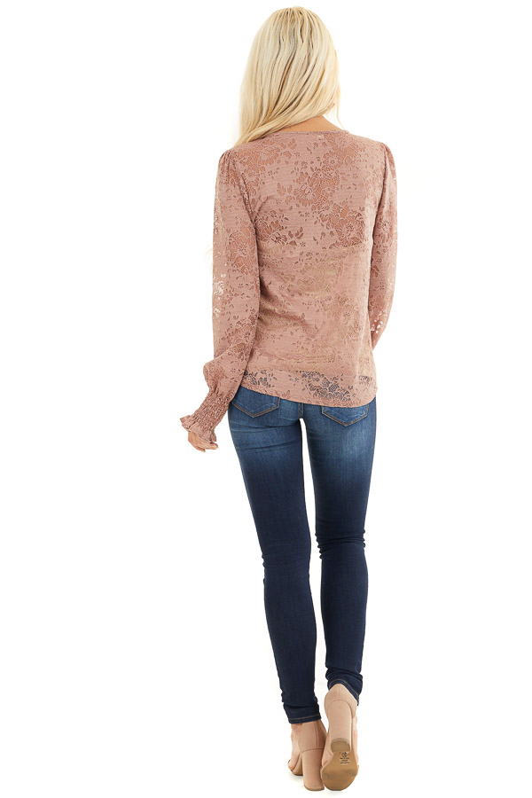 Dusty Rose Sheer Lace Top with Smocked Long Sleeves back full body