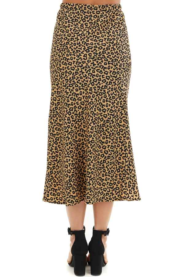 Beige and Black Leopard Print Fitted Midi Skirt back view