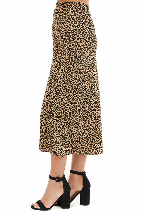 Beige and Black Leopard Print Fitted Midi Skirt side view