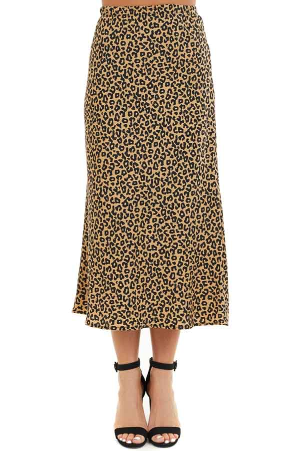 Beige and Black Leopard Print Fitted Midi Skirt front view
