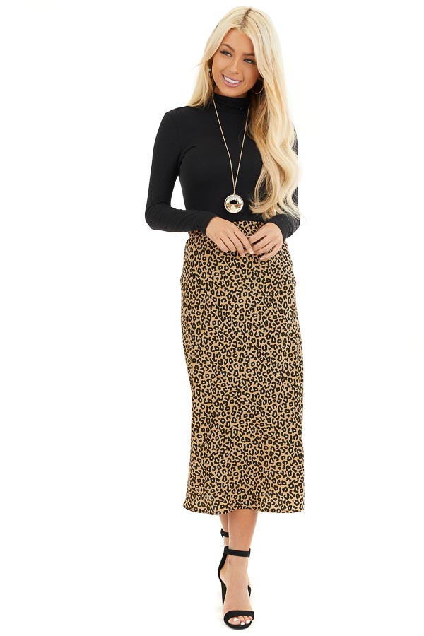 Beige and Black Leopard Print Fitted Midi Skirt front full body