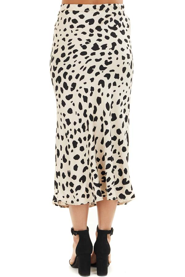 Champagne and Black Animal Print Fitted Silky Midi Skirt back view