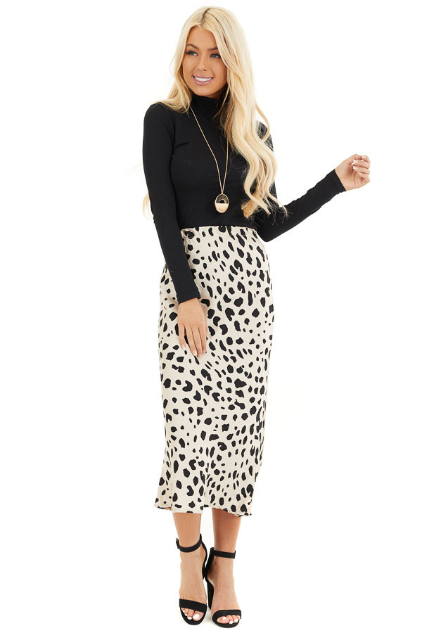 Champagne and Black Animal Print Fitted Silky Midi Skirt front full body
