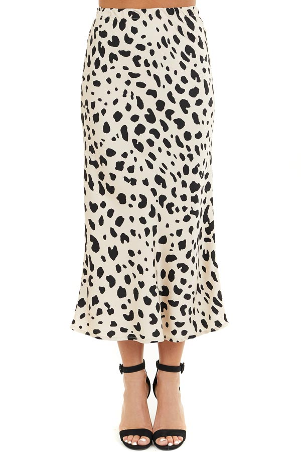 Champagne and Black Animal Print Fitted Silky Midi Skirt front view