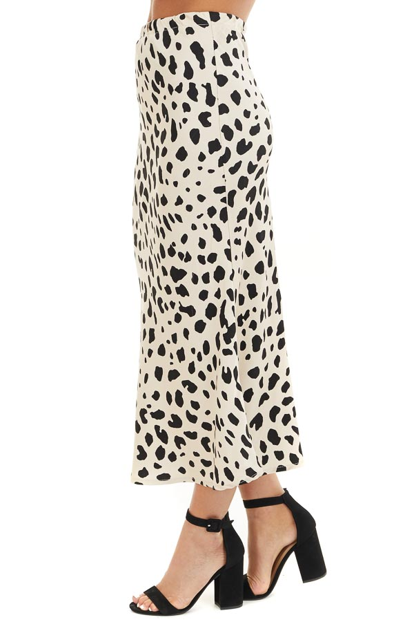 Champagne and Black Animal Print Fitted Silky Midi Skirt side view