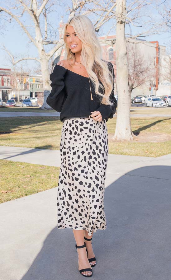 Champagne and Black Animal Print Fitted Silky Midi Skirt