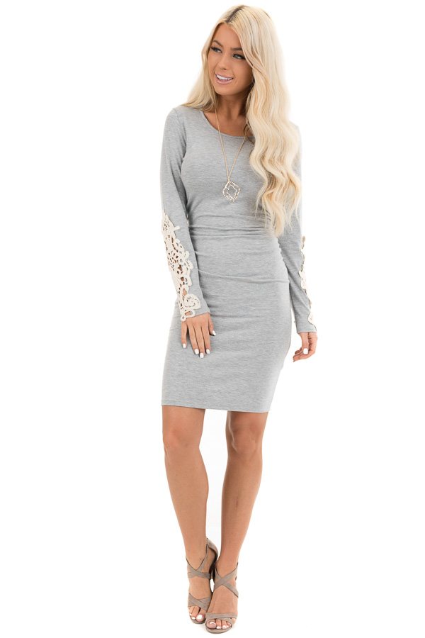 Heather Grey Long Sleeve Knit Dress with Side Ruching Detail front full body