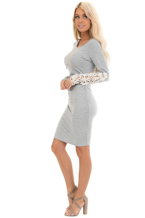 Heather Grey Long Sleeve Knit Dress with Side Ruching Detail side full body