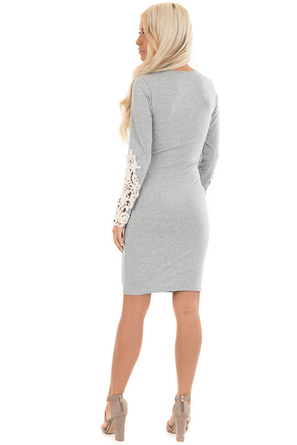 Heather Grey Long Sleeve Knit Dress with Side Ruching Detail back full body