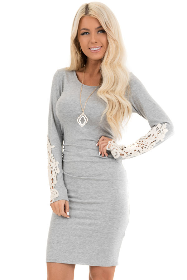 Heather Grey Long Sleeve Knit Dress with Side Ruching Detail front close up