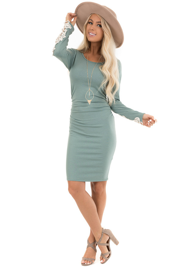 Sage Long Sleeve Knit Dress with Side Ruching Detail front full body