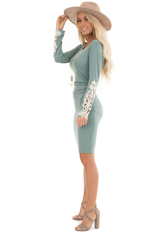 Sage Long Sleeve Knit Dress with Side Ruching Detail side full body