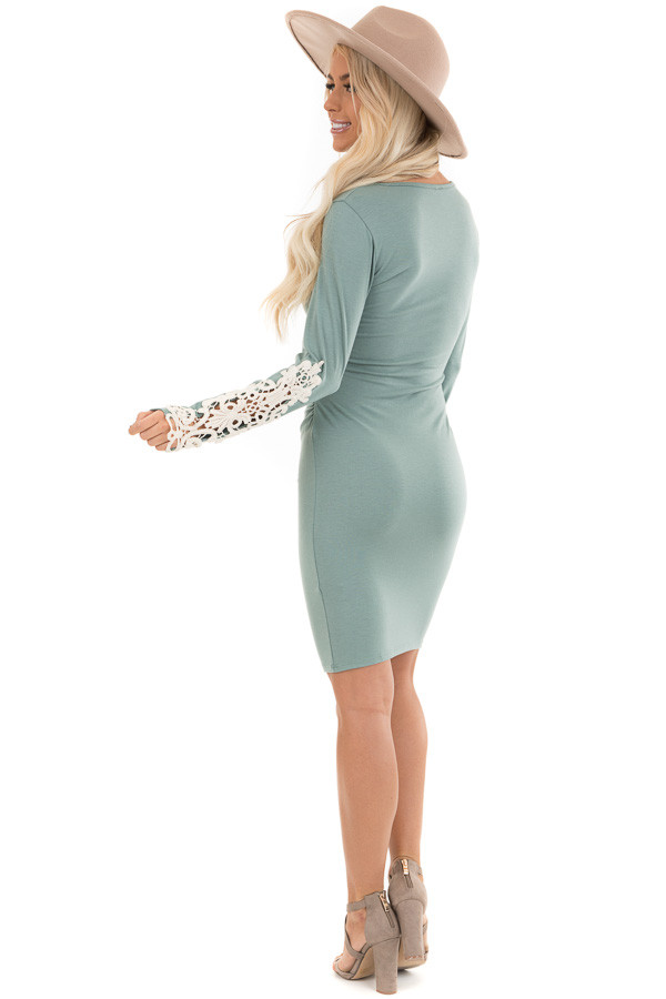 Sage Long Sleeve Knit Dress with Side Ruching Detail back full body