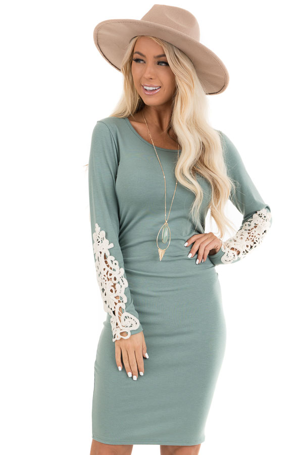 Sage Long Sleeve Knit Dress with Side Ruching Detail front close up