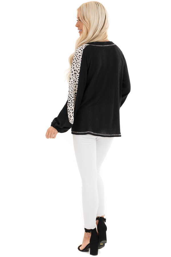 Black Waffle Knit Top with V Neck and Contrast Sleeves back full body