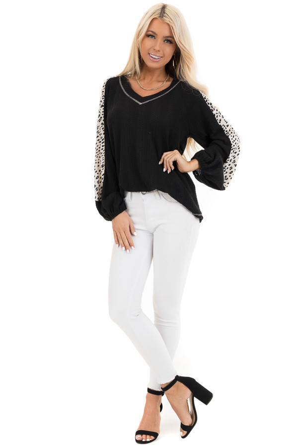 Black Waffle Knit Top with V Neck and Contrast Sleeves front full body
