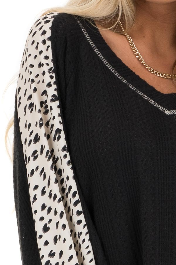 Black Waffle Knit Top with V Neck and Contrast Sleeves detail
