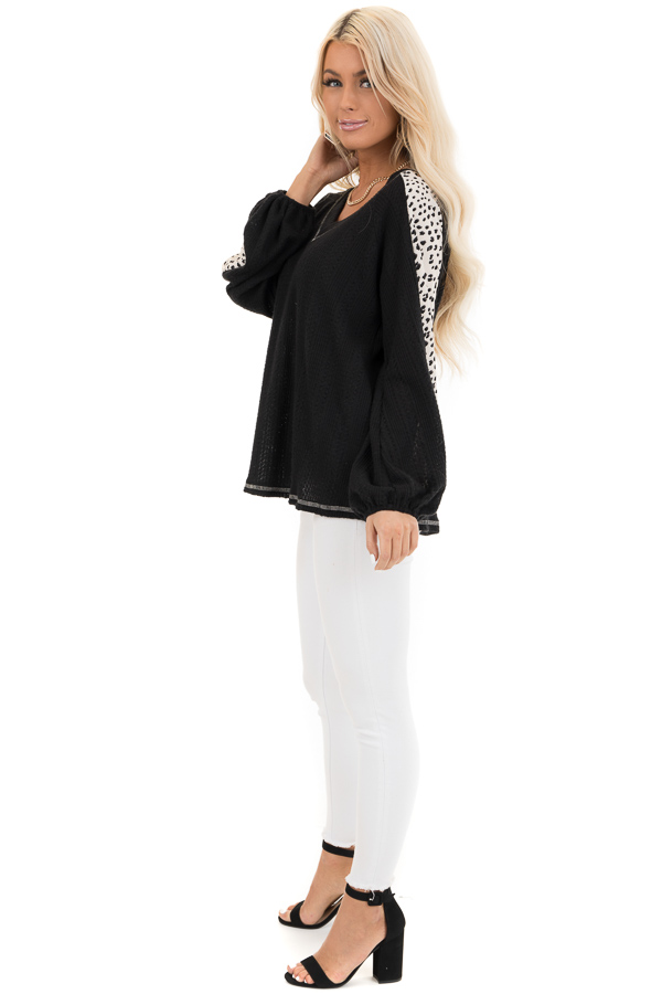 Black Waffle Knit Top with V Neck and Contrast Sleeves side full body