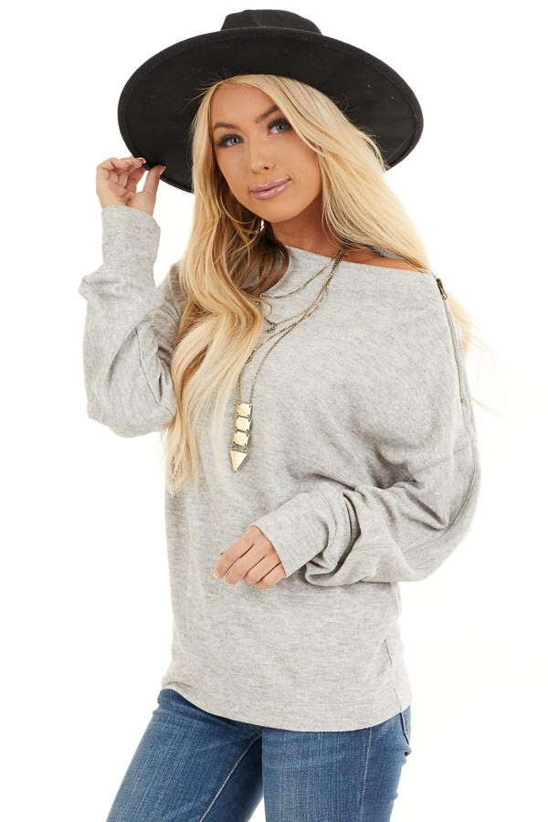 Heather Grey Sweater with Asymmetrical Shoulder Detail front close up
