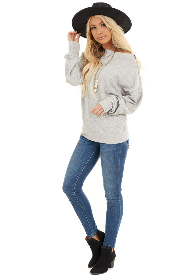 Heather Grey Sweater with Asymmetrical Shoulder Detail front full body