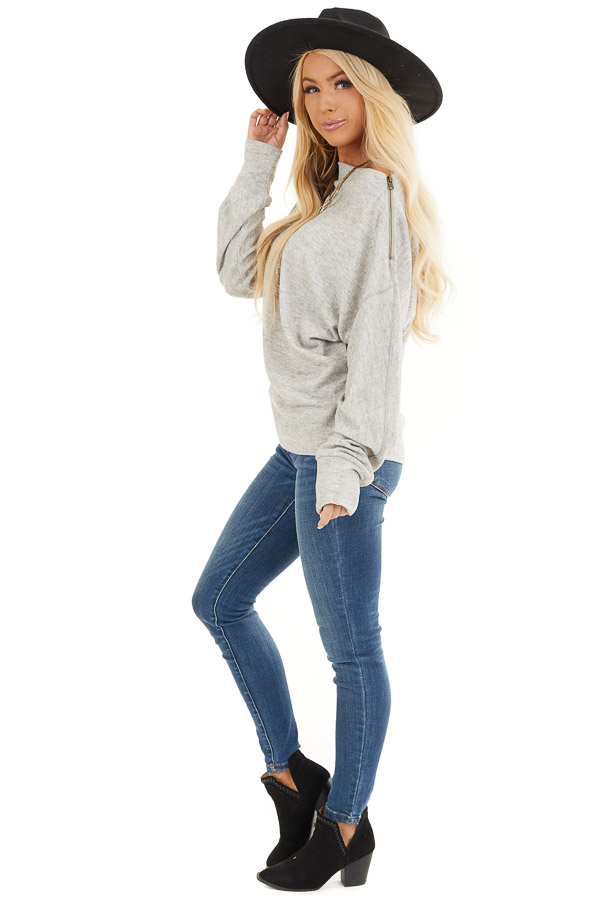 Heather Grey Sweater with Asymmetrical Shoulder Detail side full body