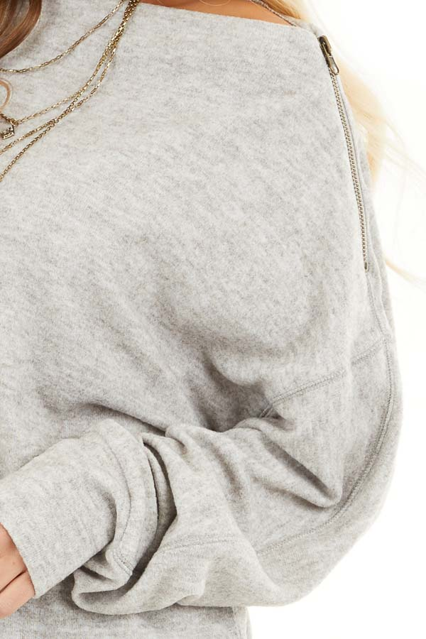 Heather Grey Sweater with Asymmetrical Shoulder Detail detail