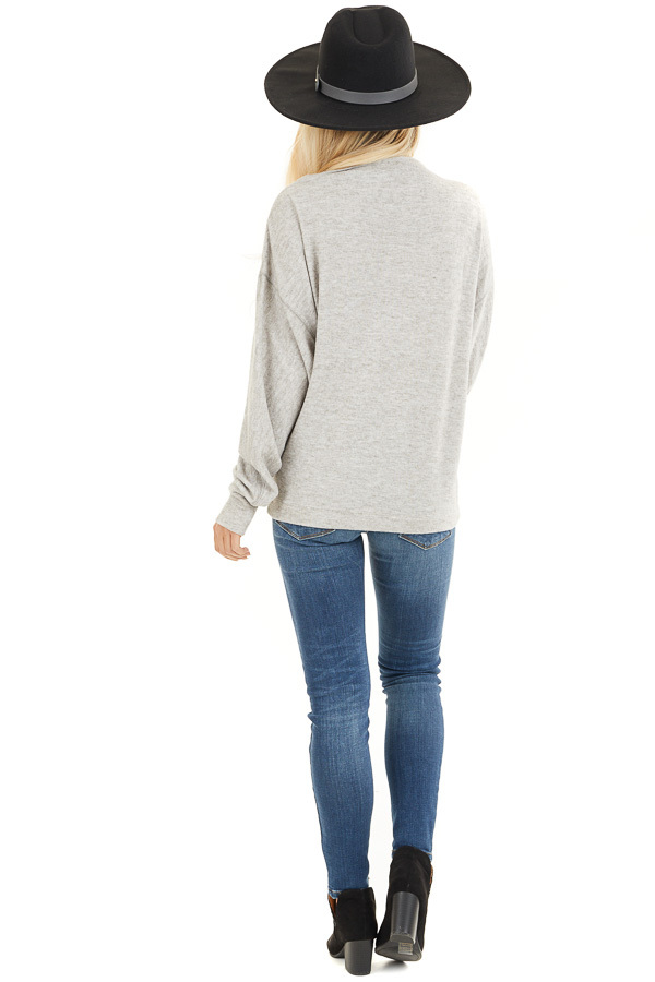 Heather Grey Sweater with Asymmetrical Shoulder Detail back full body