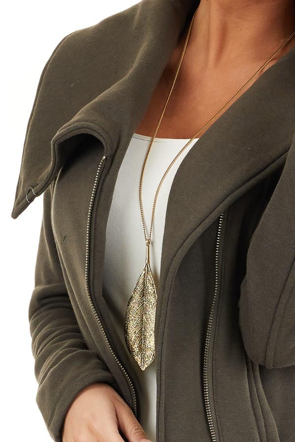 Dark Olive Asymmetrical Jacket with Long Sleeves and Pockets detail