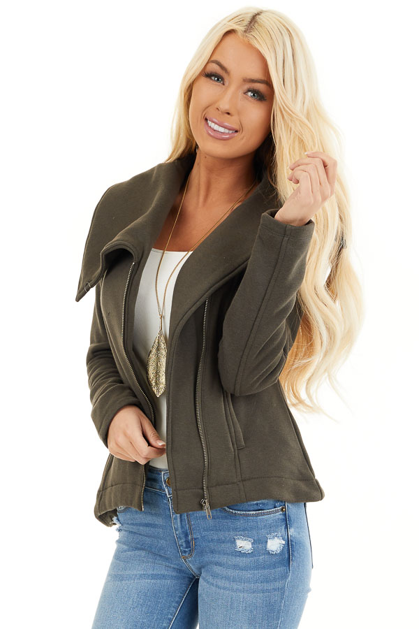 Dark Olive Asymmetrical Jacket with Long Sleeves and Pockets front close up