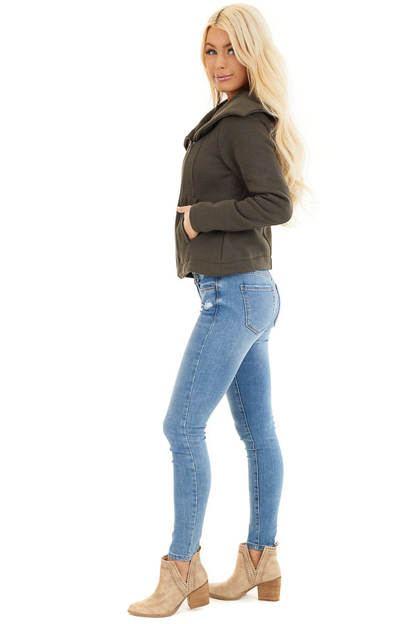 Dark Olive Asymmetrical Jacket with Long Sleeves and Pockets side full body