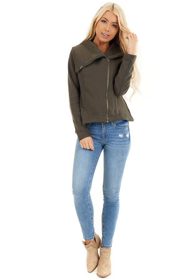 Dark Olive Asymmetrical Jacket with Long Sleeves and Pockets front full body