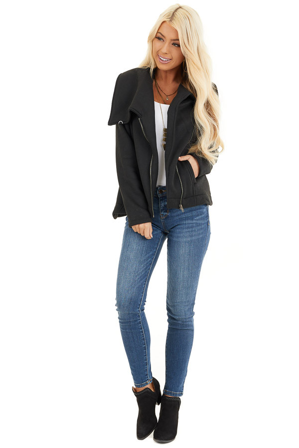 Black Asymmetrical Jacket with Long Sleeves and Pockets front full body